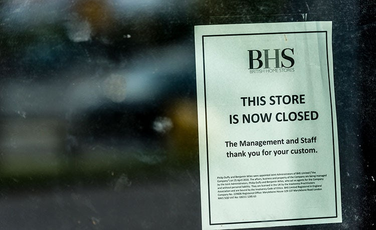 BHS now closed