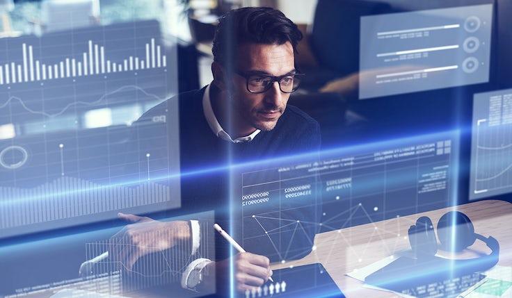 Man analysing data